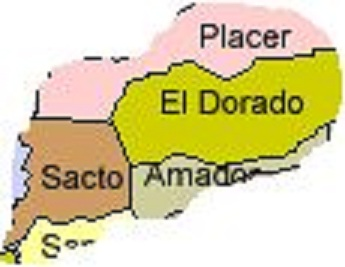 El Dorado, Placer, Amador, Sacramento Counties Map